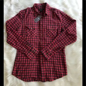 21Men NWT Red & Black Plaid Button-Down Shirt; S.